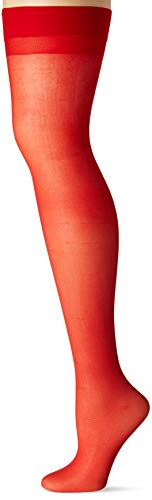 Dreamgirl Women's Sheer Thigh High with Backseam Socks, Red, One Size ()