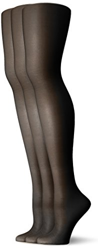 L'eggs Women's Energy 3 Pack All Sheer Panty Hose, Jet Black, - Black Jet Nude