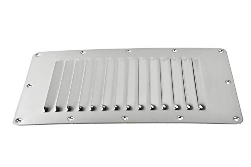 Marine City Stainless-Steel 5 Inches × 9 Inches Rectangle Stamped Louvered Vent (Pack 2)