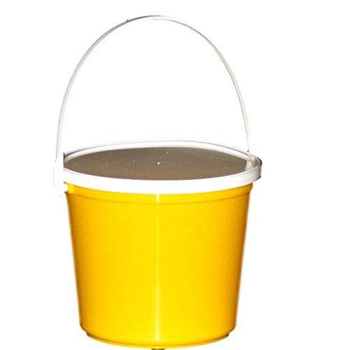 Plastic Bucket & Lid, 80 Ounces, (Yellow)