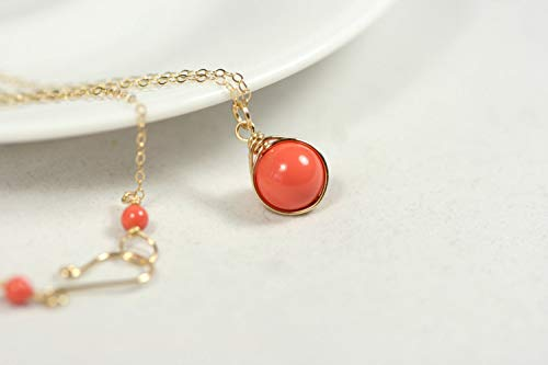 (Gold Orange Coral Necklace Coral Swarovski Pearl Pendant Wire Wrapped Yellow or Rose Gold Filled)