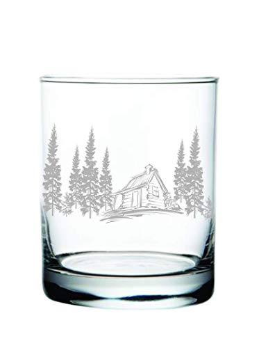 (Cabin in the Woods Whiskey Rocks Glass (14oz) Laser Engraved)