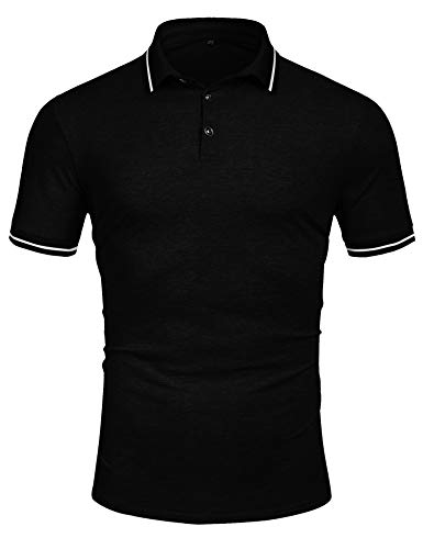 Men's Short Sleeve Polo Shirt Classic Dry Fit Sport Golf Polo Shirts Casual T Shirt Black