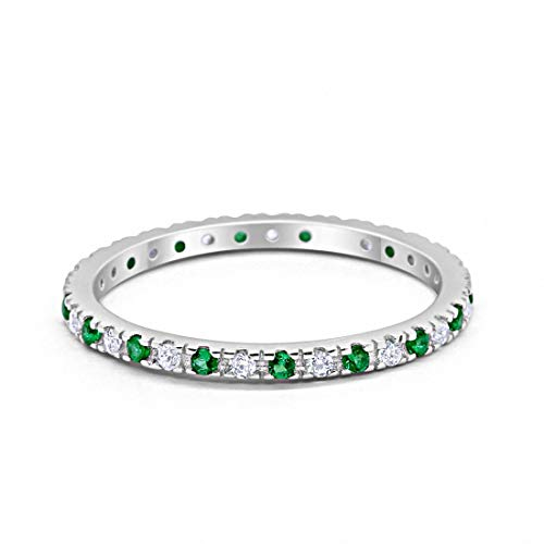 Blue Apple Co. 2mm Stackable Full Eternity Wedding Band Ring Round Alternating Simulated Emerald & Cubic Zirconia 925 Sterling Silver, ()