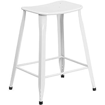 Flash Furniture 23 75   High White Metal Indoor Outdoor Counter Height  Saddle Comfort Stool. Amazon com  Flash Furniture 24   High Backless White Metal Indoor
