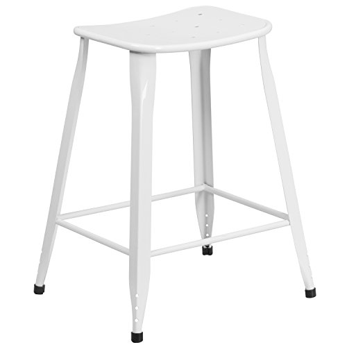 5'' High White Metal Indoor-Outdoor Counter Height Saddle Comfort Stool (White Saddle Stool)