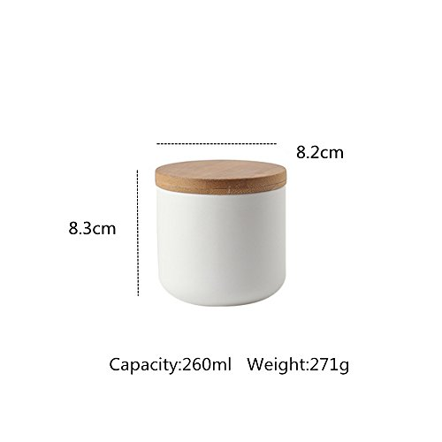 OnePine Set of 3 Air Tight Jars Ceramic Storage Containers with Airtight Seal Bamboo Lids Kitchen Canisters for Tea Sugar Coffee Spice Seasoning and More by OnePine (Image #3)