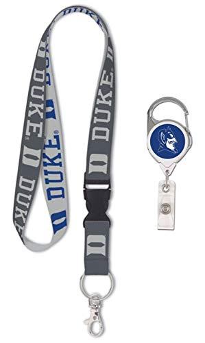 WinCraft Bundle 2 Items: Duke Blue Devils 1 Charcoal Lanyard and 1 Premium Badge Reel Id Holder ()