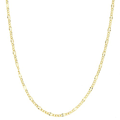 Kooljewelry 10k Solid Yellow Gold 2.3 mm Figaro Link Chain Necklace (18 inch)