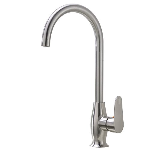 Lever Single Hole Bar Faucet - Comllen Best Commercial Single Handle Brushed Nickel Stainless Steel Kitchen Sink Faucet, Single Lever Kitchen Bar Faucets