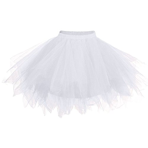 Apiidoo Women's Ballet Bubble Tutu Costume Vintage Petticoat Layered Dance Skirt White1 (White Tutu Party City)