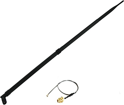 Super Power Supply 1 x 12dBi RP-SMA Dual Band 2.4GHz 5GHz + 1 x 8in / 20cm U.fl / IPEX Cable Antenna Mod Kit No Soldering for Wireless WiFi Routers Netgear R6100 RC6200 V1 V2 R6250 RC6300 AC1450 WNDR4700 Belkin F9K1112 AC1000 F9K1113 V1 V2 AC1200 F9K1115  by Super Power Supply® (Image #1)