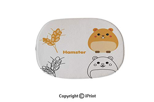 (Customized Modern Non Slip Pure Color Oval Bathroom Bath Shower Bedroom Mat,Coloring Page with Hamster Educational Game Printable Drawing Kids)