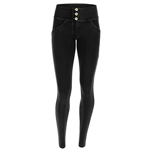 Skinny up® cuciture Pantalone Gialle Freddy In Elasticizzato Vita Lunghezza A Regular Jeans Media Denim Nero Wr qEFxw6t