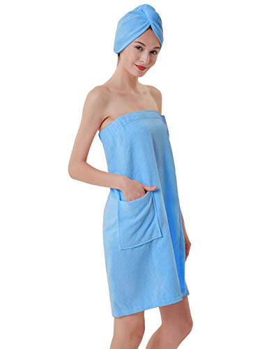 (Zexxxy Women's Wrap for Shower & Bath Terry Spa Towel Terry Spa Wrap for Women Blue M)