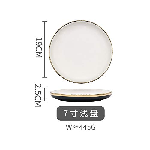 Nordic light luxury Phnom Penh green plate home eat dishes combination soup bowl salad dishes Western plate 7 inch shallow plate 19x2.5cm