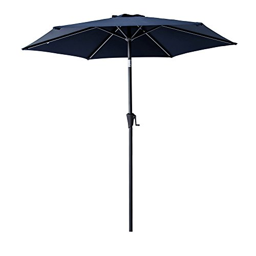 FLAME&SHADE 7 Foot 5 inch Market Umbrella with Crank Lift, Push Button Tilt, Navy Blue