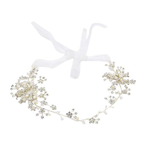 - LiPing Sweet Fresh Pearl Flower Branch Lace Hand Knitted Headdress Ladies Bride Jewelry Size: 39+78CM (Silver)