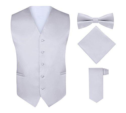 Vest Suit Set (S.H. Churchill & Co. Men's 4 Piece Vest Set, with Bow Tie, Neck Tie & Pocket Hankie - Silver, M)