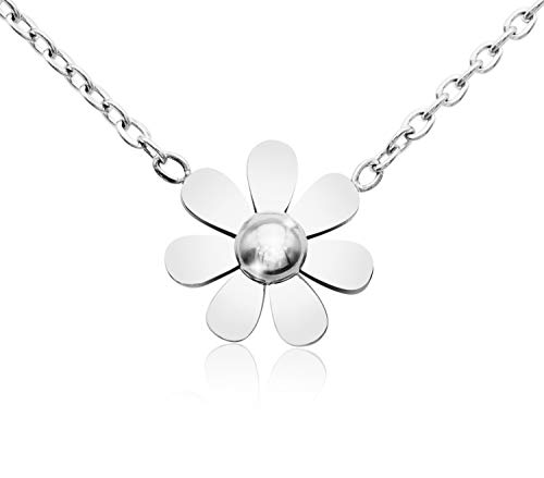 KristLand - 18k Gold Plated Titanium Steel Cute Sun Flower Short Necklace Rose Gold Color Delicate Adjustable Choker Silver - 3 Necklace Silver Flower