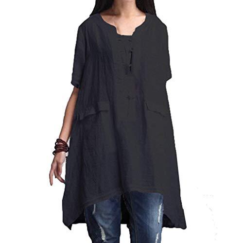 Dame Mode Manches Manche Dsinvolte Bouffant Femme HX Uni Vintage Col Haut Asymmetric Schwarz Basic Et Shirt Grande Tunique Elgante Vetement Blouse Taille Tee Irregular fashion Rond Shirt Courtes q8Rw4Aa