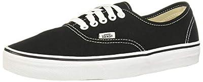 Vans Unisex Authentic Solid Canvas Skateboard Sneakers (46 M EU / 12 D(M) US, Black / White)