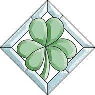 Shamrock Cluster (Stained Glass Supplies Green Colored Framed Shamrock Bevel Cluster)