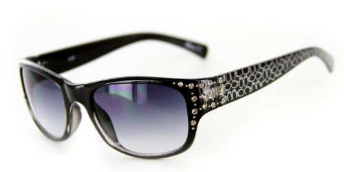 Olivia 2046 Designer Sunglasses with Stylish Crystal Patterned Frames (Black w/ Smoke - Sunglasses 2046