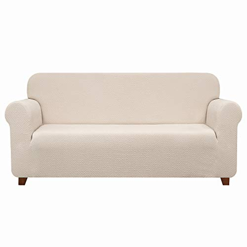 TOYABR Sofa Cover Stretchy Seersucker Fabric Sofa Slipcovers 1-Piece Fitted Armchair Furniture Protector for Living Room (Loveseat,Cream Ivory) ()