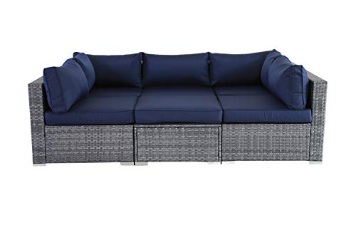JETIME Outdoor Rattan Furniture 6pcs Patio Grey Conversation Set Garden Sofa Set Sectional Couch with Navy Cushion - -Outdoor 6pcs Sofa set Size:-Corner Sofa:29.5 x 29.5 x 25.6 in -Middle Sofa: 25.6 in x 29.5 in x 25.6 in -Tea Table 25.6 in x 25.6 in x 13.4 in -Seat Sofa Height:13.4 in -Back Sofa Heigt:25.6 in -Cushion thickness:4 inch -Patio Rattan Furniture Material:PE Rattan,Steel Frame ,Polyester Fabric,Cushion is waterproof. -Garden Wicker Conversation Sofa includes:-1 x Tea Table/Ottoman -2 x Corner Sofas -3 x Middle Sofas - patio-furniture, patio, conversation-sets - 31f6DoBG2XL -