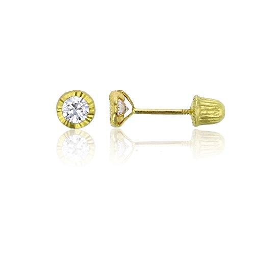 14K Yellow Gold DC Basic Round Bezel 3mm Hat Screw Back Stud Earring