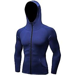 Tailloday Men's Quick-Dry Hoodies Running Sweatshirt Slim Fit Zip Up Fitness Gym T Shirts (M, Blue)