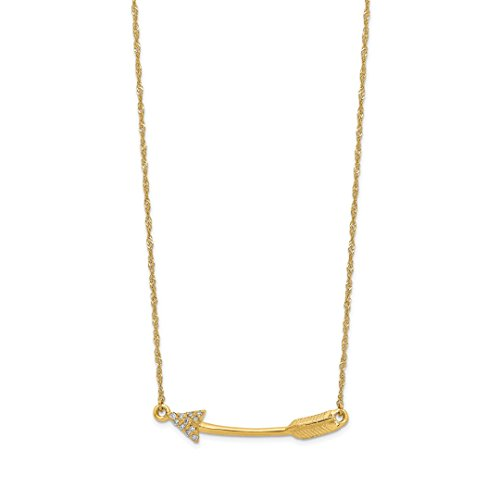 14k Yellow Gold Diamond Arrow Chain Necklace Pendant Charm Fine Jewelry For Women Gift Set