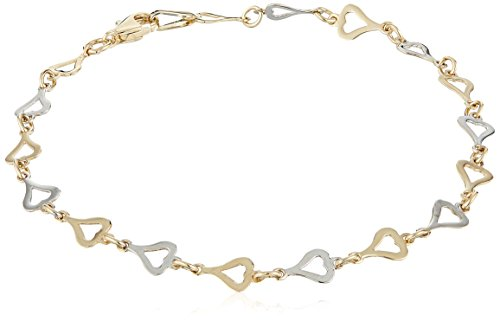 14k White and Yellow Gold Heart Link Bracelet, 7.5""