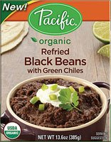 Pacific Natural Foods Organic Refried Black Beans with Green Chiles -- 13.6 oz