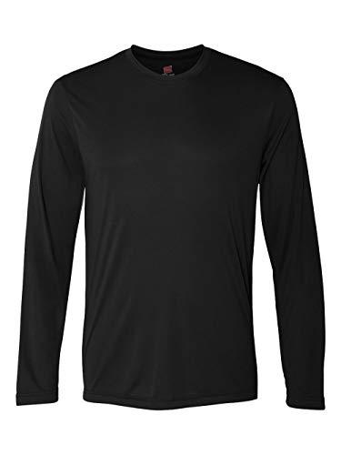 Hanes Men's Long Sleeve Cool Dri T-Shirt UPF 50+, Large, 2 Pack ,Black (Knit Thermal Performance)