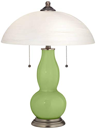 Modern Accent Table Lamp Lime Rickey Green Glass Double Gourd Alabaster Glass Dome Shade for Living Room Family Bedroom - Color + Plus