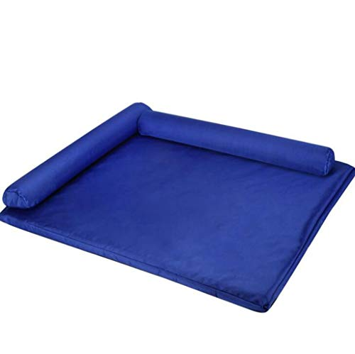 Pet Bed for Dogs and Cats Soft Warm Paw Print Pet Bed Sofa Water Resistant with Removable & Washable Cover Pet Dog Bed Orthopedic Plush Couch Pet Bed for Dogs (Color : Royal Blue, Size : 55409cm) ()
