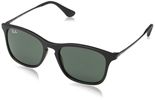 Ray-Ban Boy's Chris Junior Sunglass 0RJ9061S Rectangular Sunglasses, Rubber Black 700571, 49 - Ban Ray Chris