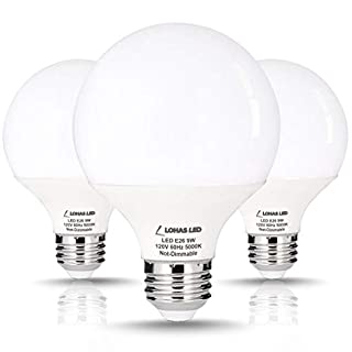 LOHAS G25 LED Globe Light Bulbs, 9W Vanity Round Light Bulb (60W Equivalent) 800LM, E26 Base Daylight 5000K Globe Light Bulbs, G25 LED for Makeup Mirror, Bathroom, Dressing Room, Not-Dimmable, 3 Pack