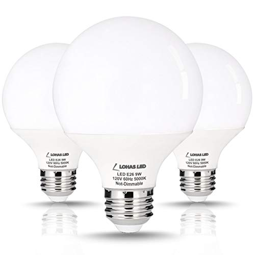 LOHAS G25 LED Bulb Globe Light Bulb 60Watt Vanity Light Bulbs Equivalent, 810LM LED 9W(with UL Listed) G25 Daylight Bulb 5000K, Medium Screw Base E26 for LED Makeup Mirror Bathroom Home Lights, 3 Pack