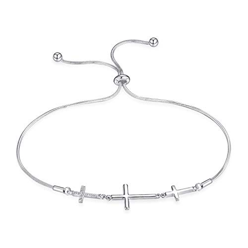 (JewelryPalace Cubic Zirconia Three Crosses Adjustable Bracelet 925 Sterling Silver Snake)