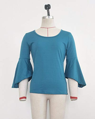 Blouse Shirts Couleur Jumper Flare Cyan Hauts Sleeve Tee T Unie Automne Tops et Fashion Chic Printemps Femmes Col Rond Slim O41nAZP