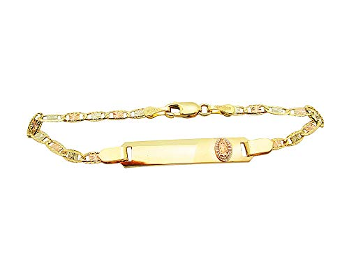 AMZ Jewelry Children Babies 14k Tri Color Gold Valentino Link ID Bracelet with Guadalupe 5.5 inch ()