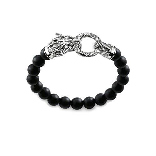 DUOJINZ Black Obsidian Beads 925 Sterling Silver Dragon Bracelets Most Fashion Beaded Bracelet Jewelry for Men Women