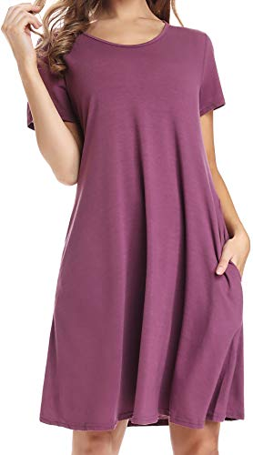 Womens Purple Swing Dress with Pockets Knee Length Short Sleeve Cotton T-Shirt Dress