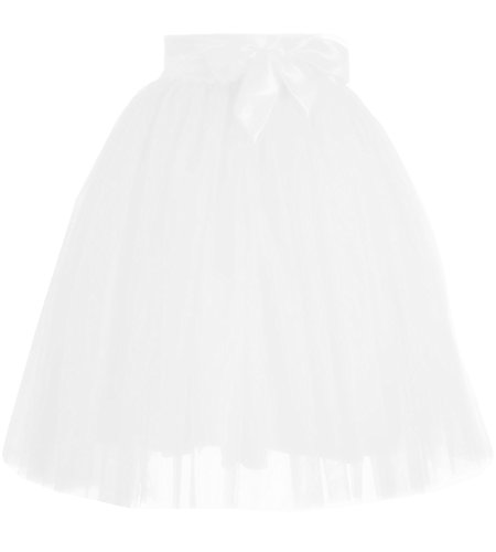 LHY Costumes Women's Short A line Skirts Elastic Tulle Costume Dance Tutu with Bow Belt White XS