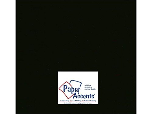 Accent Design Paper Accents ADP1212-250.127 No.80 12'' x 12'' Black Bulk Smooth Card Stock by Accent Design Paper Accents