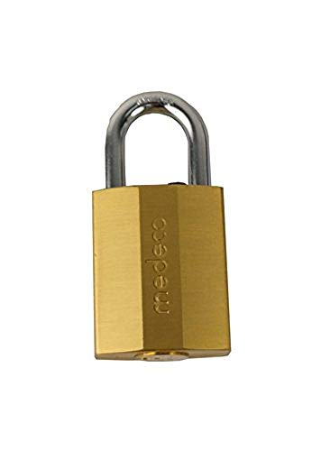 "Medeco 55-020010#55 Series Brass Finish 1-3/4"" Wide Body Lock Padlock with 2 High Security Keys"