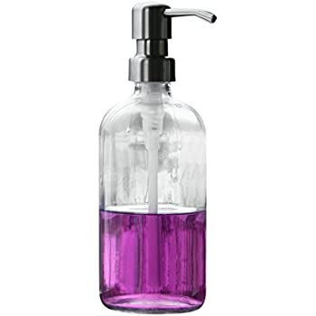 Soap Dispenser with Stainless Metal Pump - Clear 16oz Glass Jar Lotion Bottle by Industrial Rewind